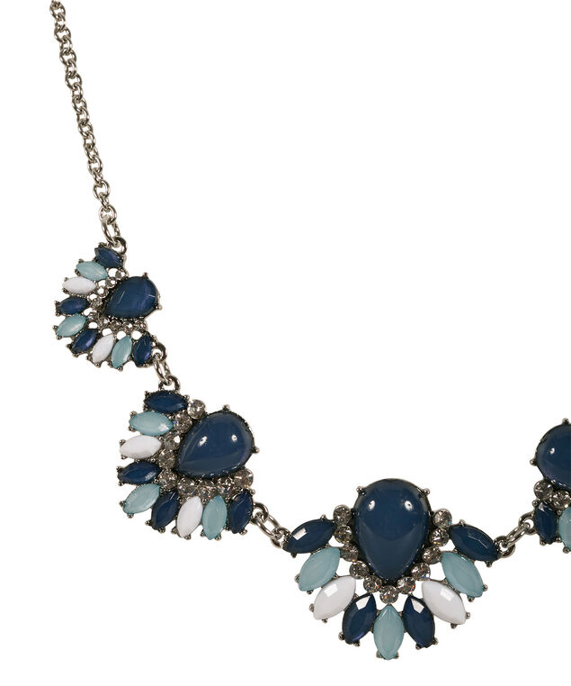 Shades Of Teal Necklace, Teal/White/Rhodium, hi-res