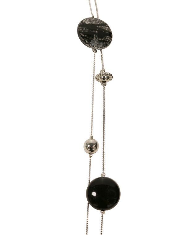 Long Stationed Metal & Lace Bead Necklace, Black/Rhodium, hi-res