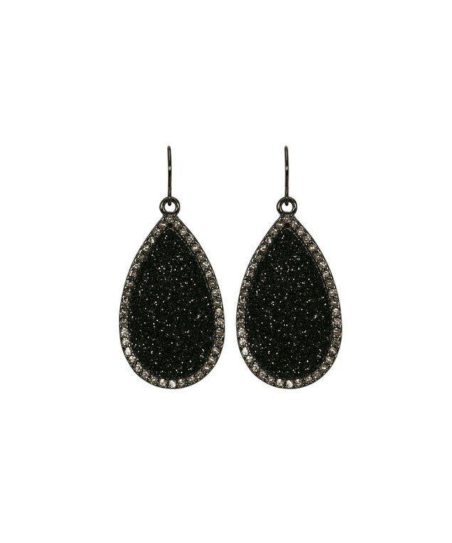 Glitter Teardrop Earring, Black/Clear/Hematite, hi-res