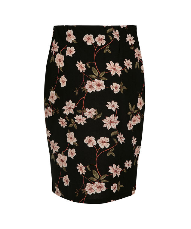 Scuba Crepe Pencil Skirt, Black/Strawberry Daiquiri Print, hi-res