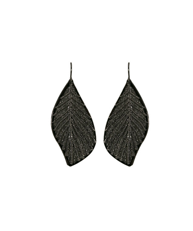 Leaf & Shadow Drop Earring, Hematite, hi-res