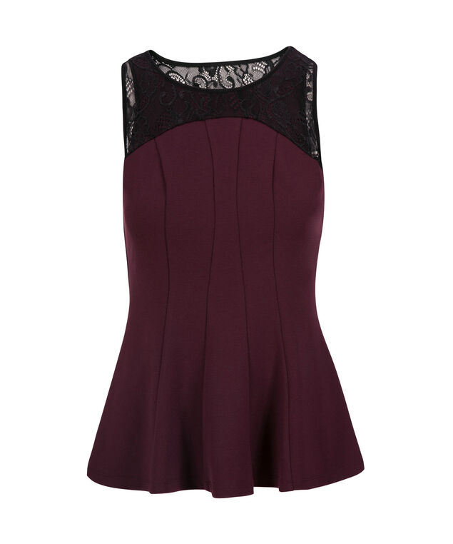 Sleeveless Lace Yoke Peplum Top, Port/Black, hi-res