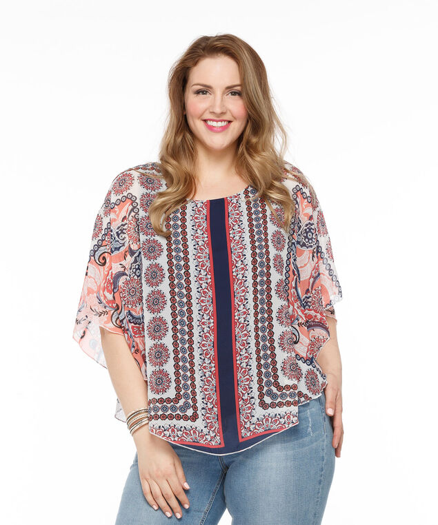 Scarf Print Capelet Overlay Top, Multi Print, hi-res