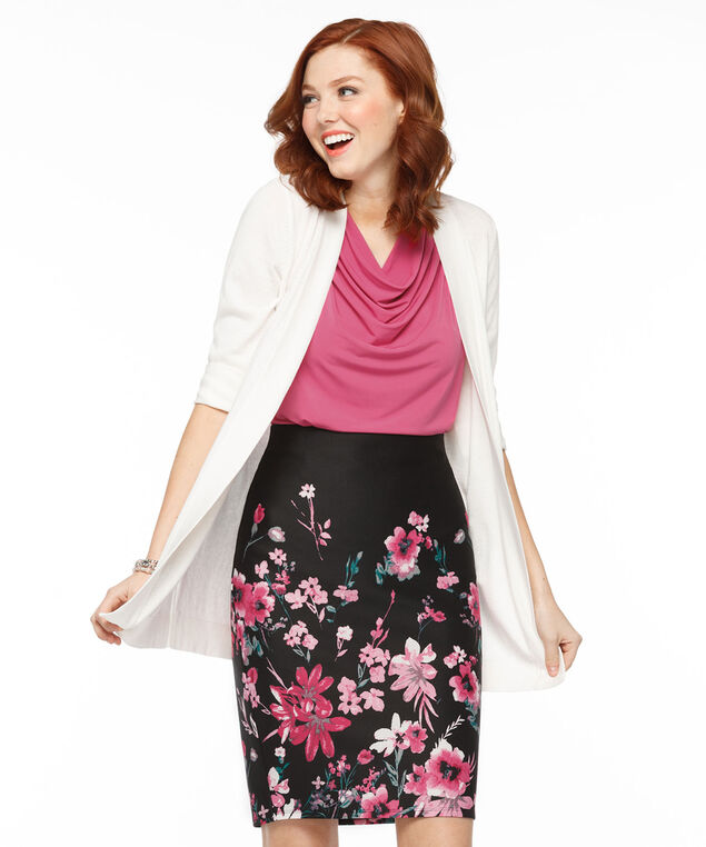 Floral Scuba Pencil Skirt, Pink/Peacock Green Print, hi-res