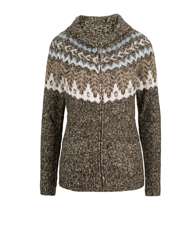 Fairisle Zip Cardigan, Grey Mix, hi-res