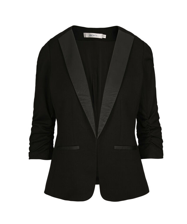Ruched Sleeve Lapel Blazer, Black, hi-res
