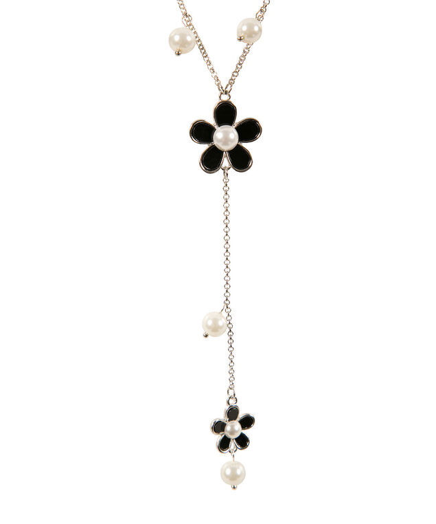Pearl and Flower Necklace, Black/White/Rhodium, hi-res