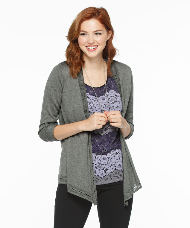 Pointelle Trim Point-Front Open Cardi, Mid Grey, hi-res