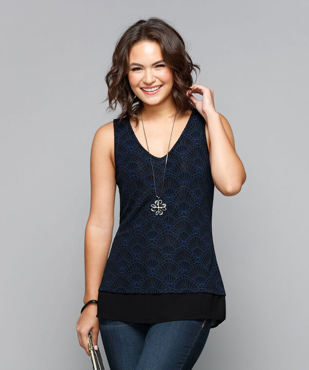 Double-V Chiffon Trim Top, Cobalt/Black, hi-res