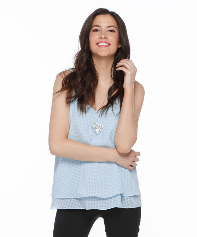 Strappy Double Layer Tank Blouse, Frosted Blue, hi-res