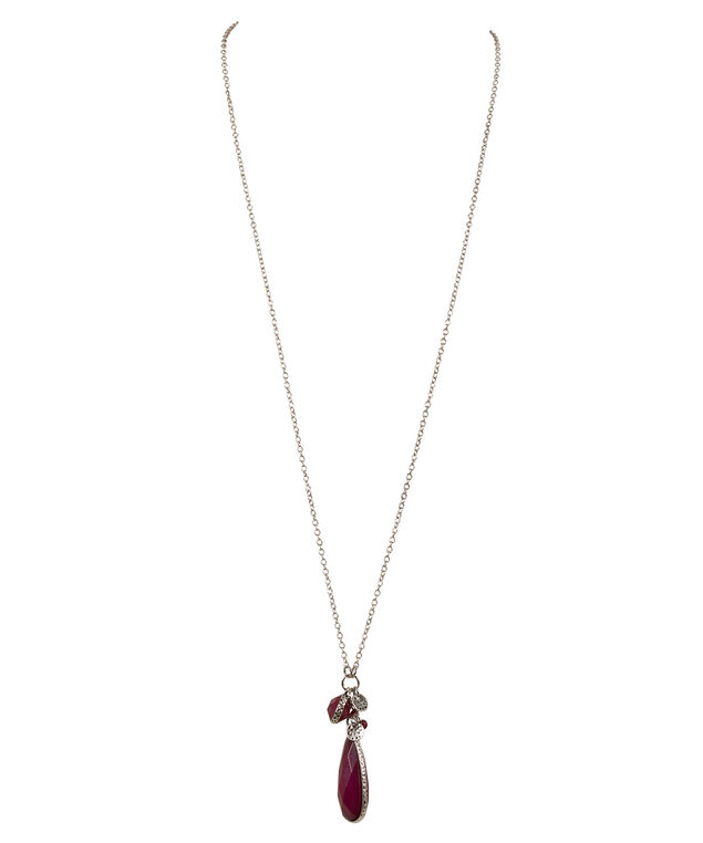 Natural Stone Cluster Necklace, Mid Plum/Burnished Silver, hi-res