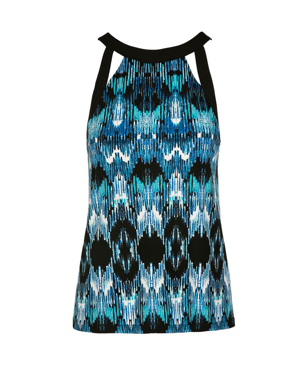Sleeveless Cut Out Halter Top, Blue Print, hi-res