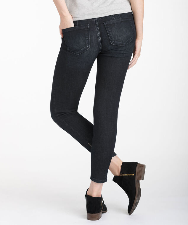 Exposed Zipper Bottom Ankle Jean, Dark Rinse, hi-res