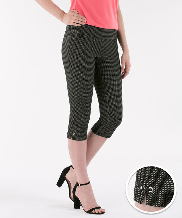 Jacquard Side Tab Capri, Black Pattern, hi-res