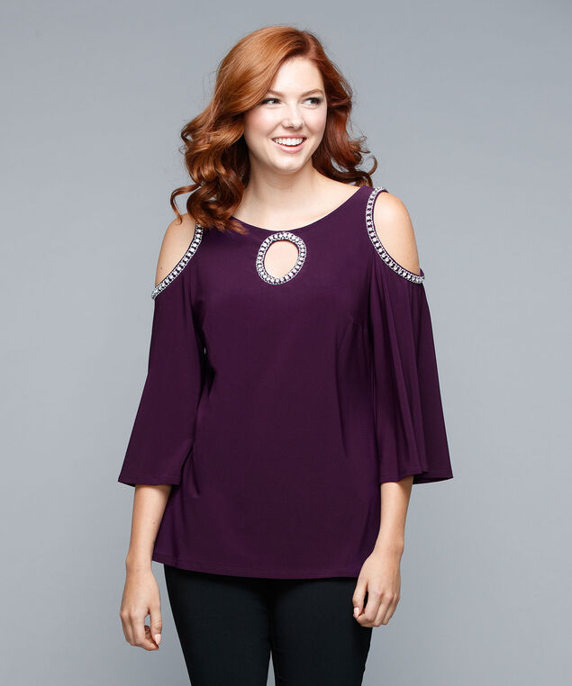 Crystal Trim Cold Shoulder Top, Blackberry, hi-res