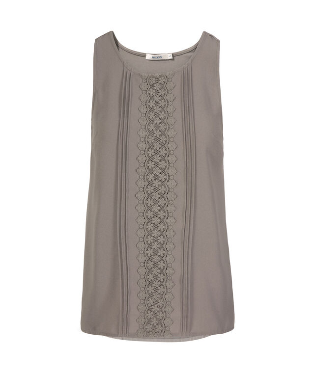 Sleeveless Crochet & Pleat Front Top, Grey, hi-res