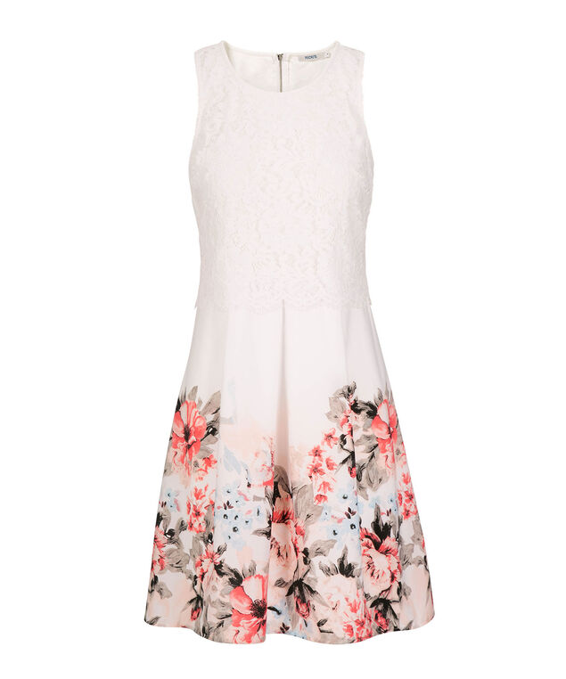 Lace Bodice Floral Dress, White Print, hi-res