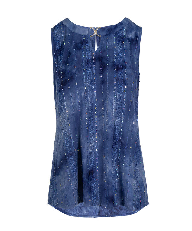 Embroidered Sleeveless High-Low Tank, Blue, hi-res