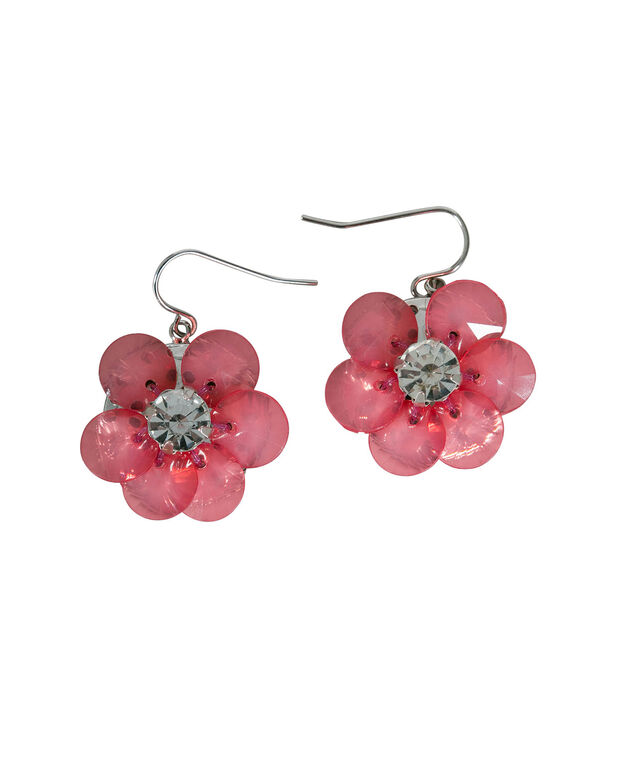 Hot Pink Flower Earring, Hot Pink/Rhodium, hi-res