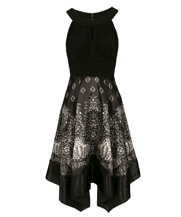 Ruched Bodice Scarf Print Dress, Black/White, hi-res