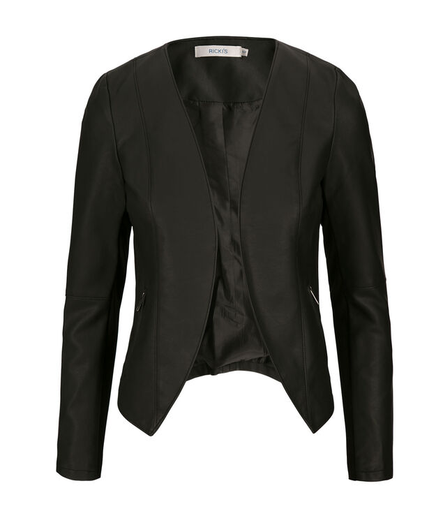 Open Front Blazer, Black, hi-res
