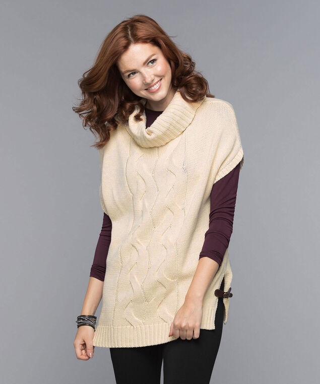 Button-Neck Cable Knit Topper, Almond, hi-res