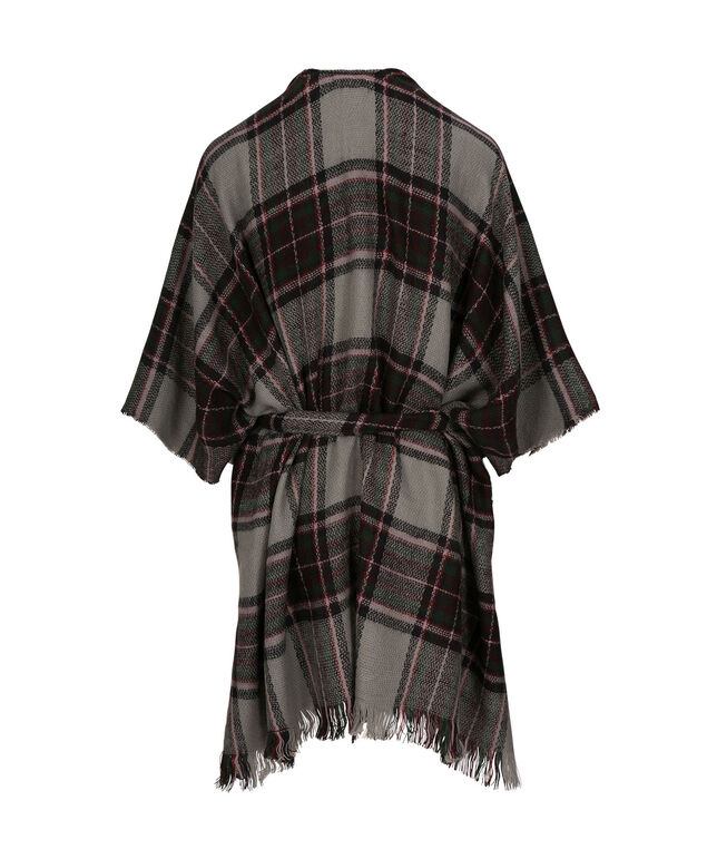 Plaid Belted Ruana, Amethyst/Grey/Sycamore, hi-res
