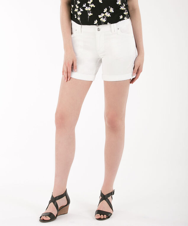 Twill Roll Cuff Short, True White, hi-res