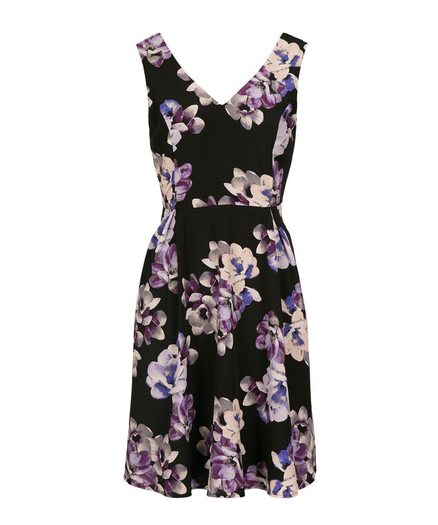 Sleeveless Double Vee Floral Dress, Black/Iris Print, hi-res