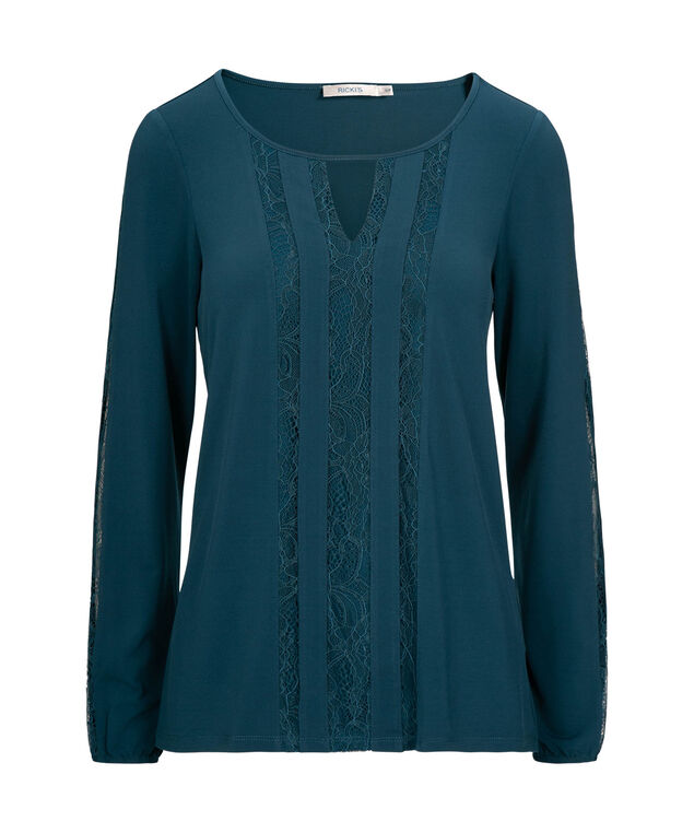 Lace Trim Peasant Top, Steel Blue, hi-res