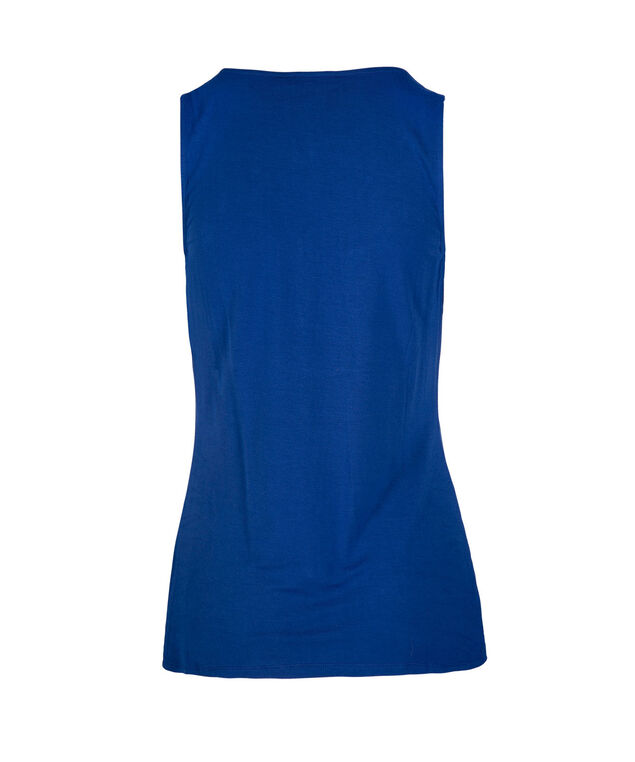 Sleeveless Tab Front Top, Blue, hi-res