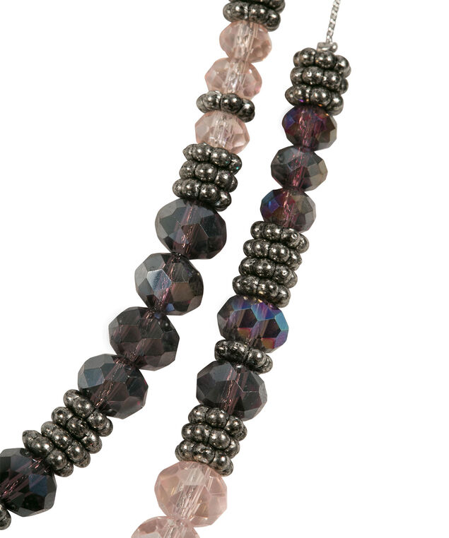Faceted Stone Double Strand Necklace, Purple/Pink/Burnished Silver, hi-res