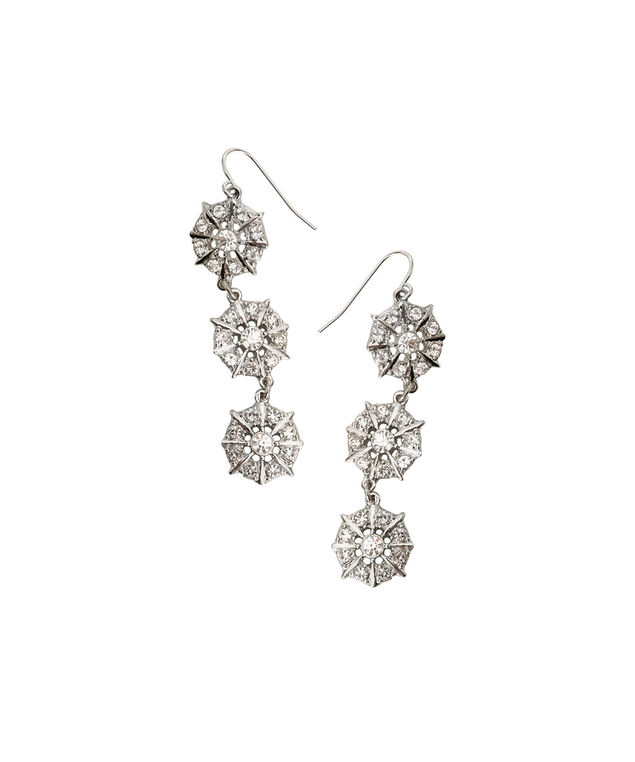 Stacked Crystal Disc Earring, Clear/Rhodium, hi-res