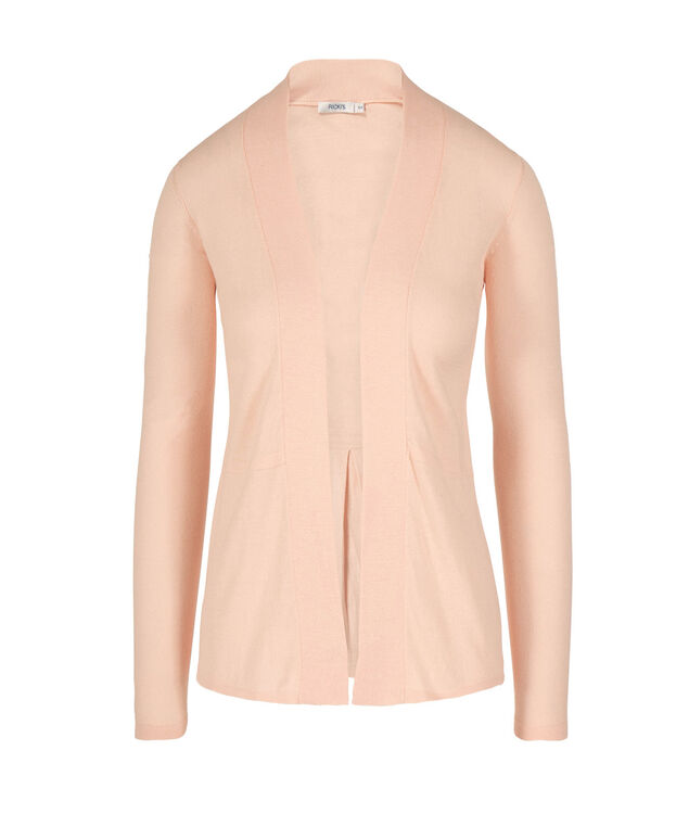 PLEATED BACK OPEN CARDIGAN, Peach, hi-res