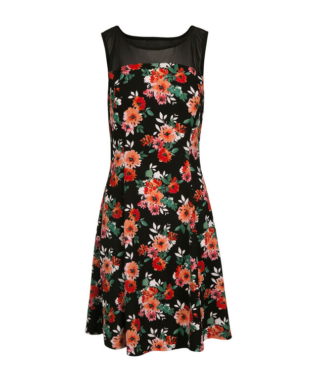 Floral Illusion Neck Dress, Black/Pink Floral, hi-res