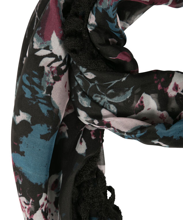 Woven Floral Print Eternity Scarf, Bright Teal/Raspberry, hi-res