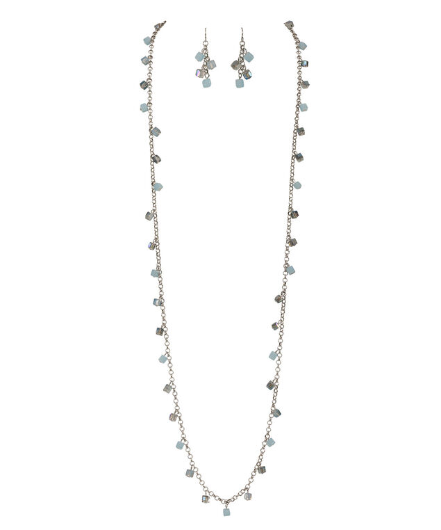 Beaded Necklace Set, Icy Blue/Burnished Silver, hi-res