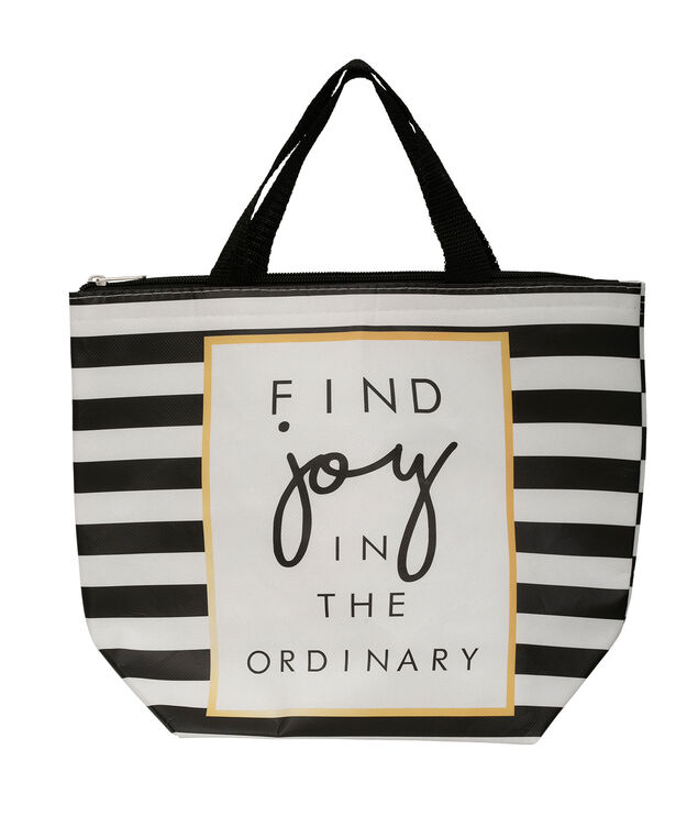 """Find Joy"" Insulated Lunch Tote, Black/Gold/White, hi-res"