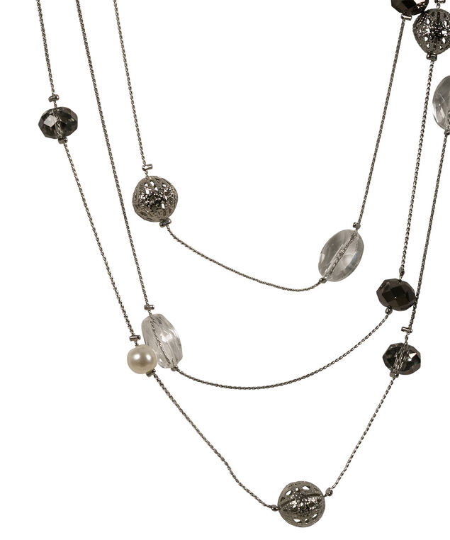 Stationed Pearl Necklace, White/Rhodium, hi-res