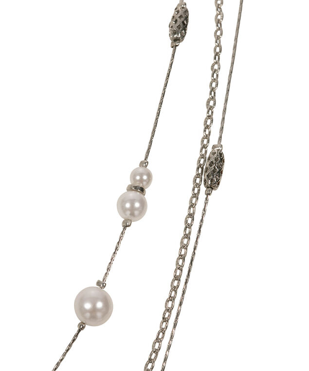 Pearl & Metal Cage Necklace, White/Rhodium, hi-res