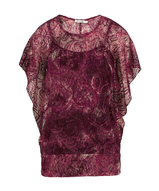 Lace Dolman Top, Burgundy, hi-res