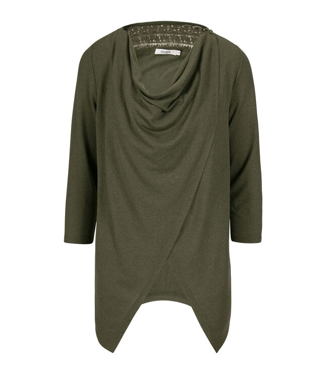 Draped-front Convertible Cardigan, Olive, hi-res