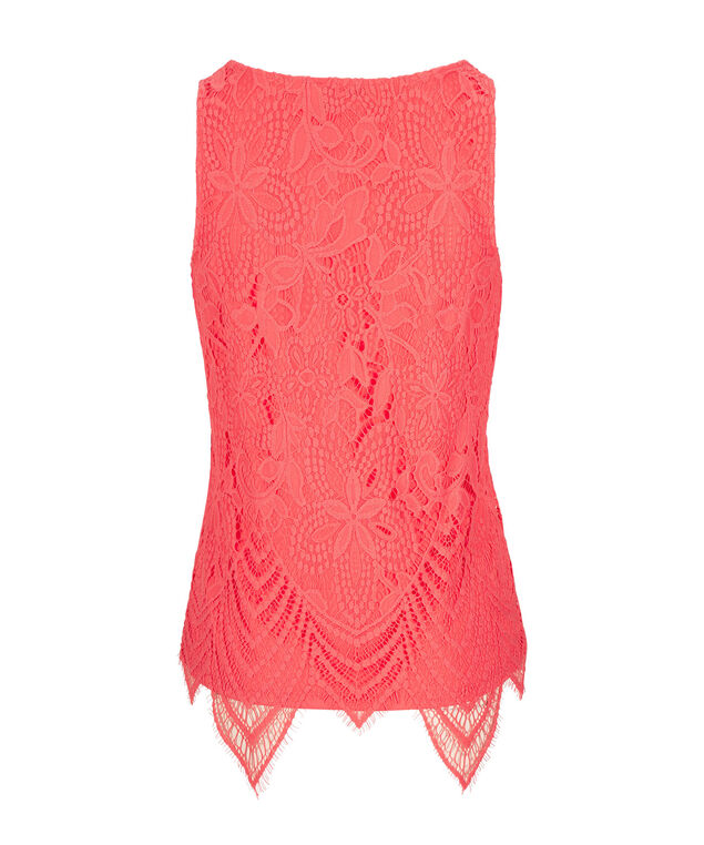 Sleeveless Crochet Lace Top, Burnt Coral, hi-res