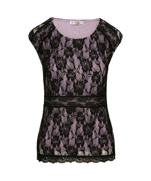 Sleeveless lace Peplum, Black/Purple, hi-res