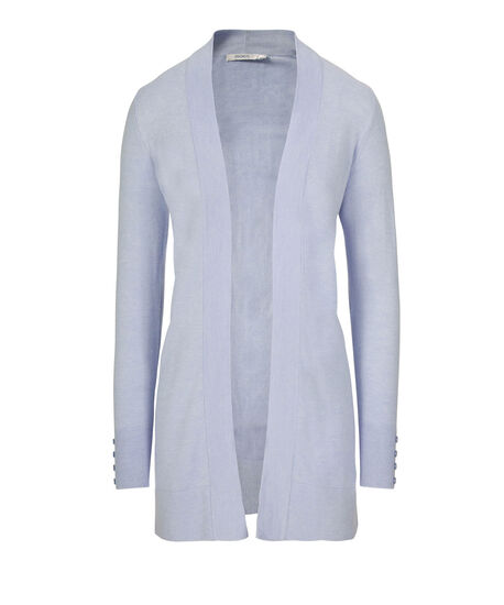 Button-Trim Tunic Cardigan, Soft Blue, hi-res