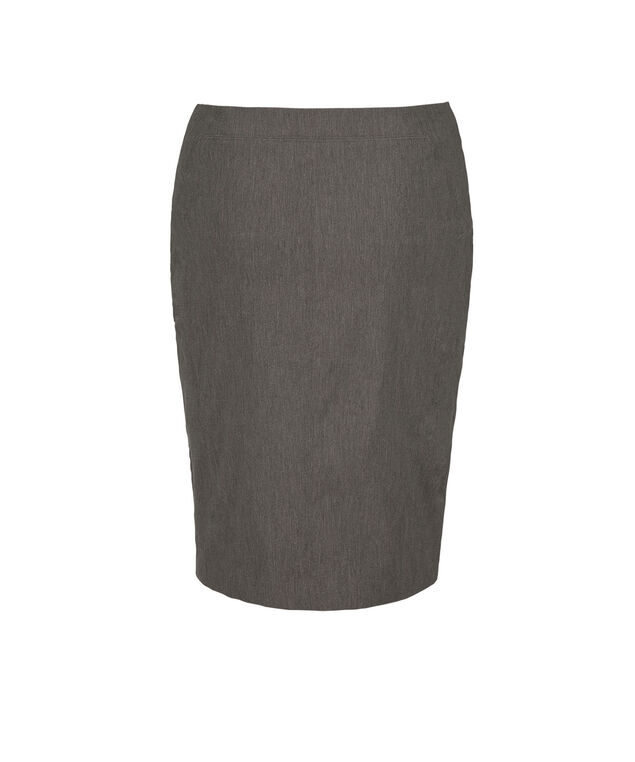 Microtwill Pull On Pencil Skirt, Heather Grey, hi-res