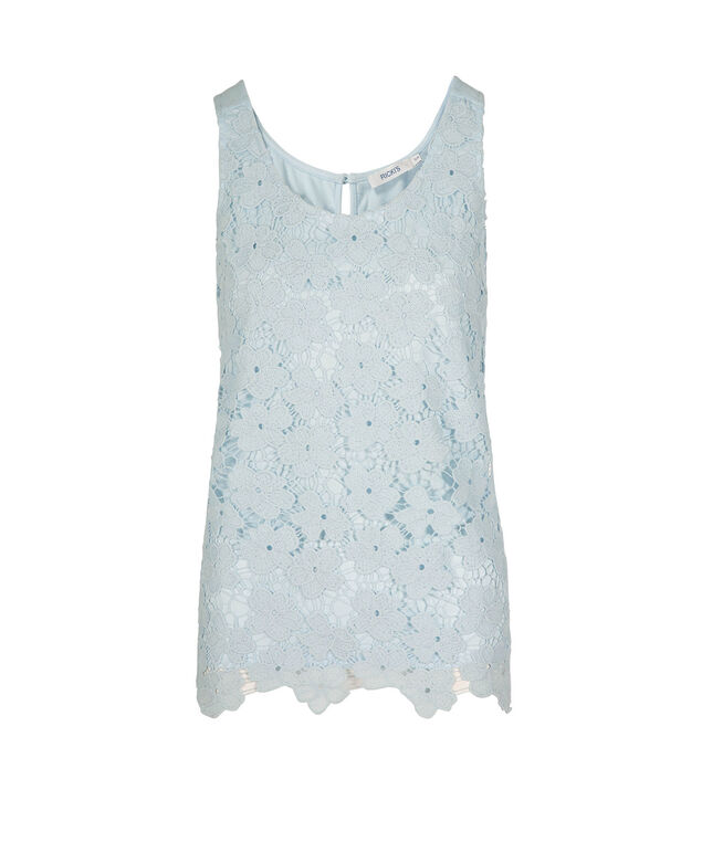 Sleeveless Crochet Lace Top, Frosted Blue, hi-res