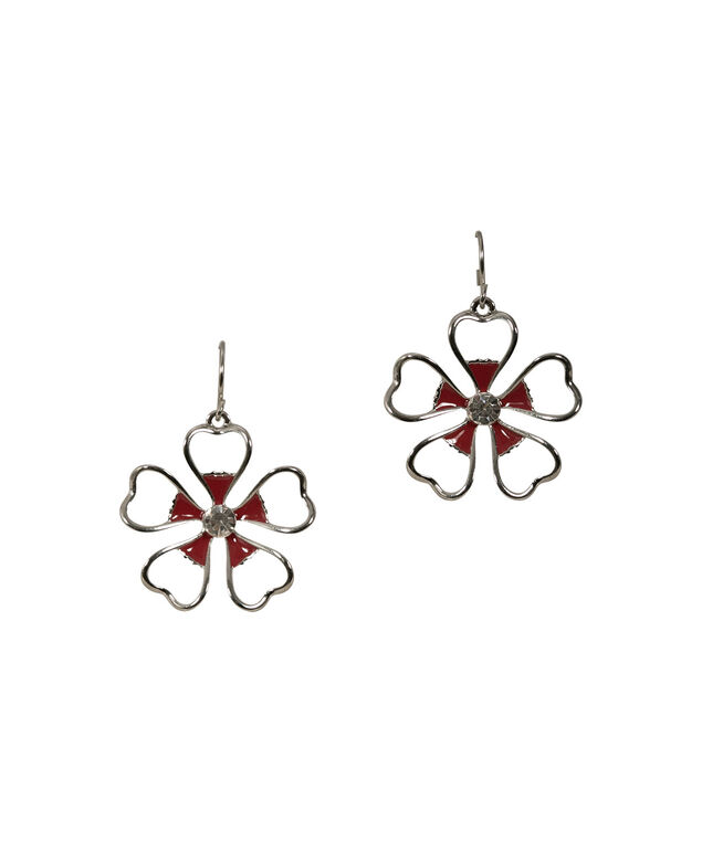 FLOWER EARRING, Crimson/Rhodium, hi-res