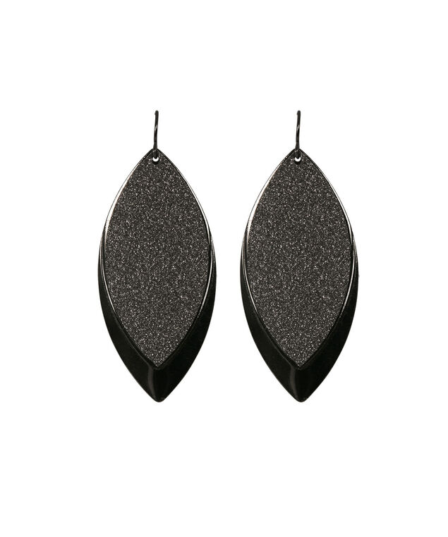 Textured Leaf Shape Earring, Hematite, hi-res