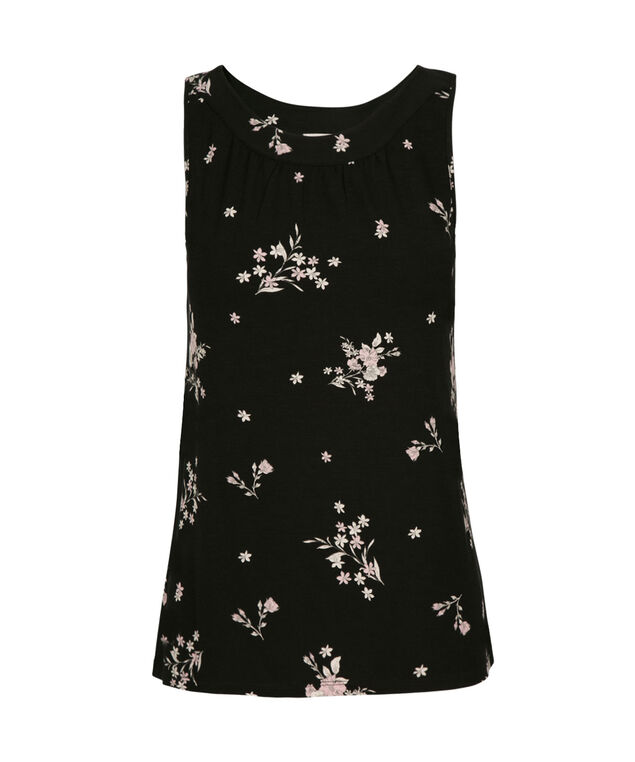 Ruched Boat Neck Tank, Black Pattern, hi-res